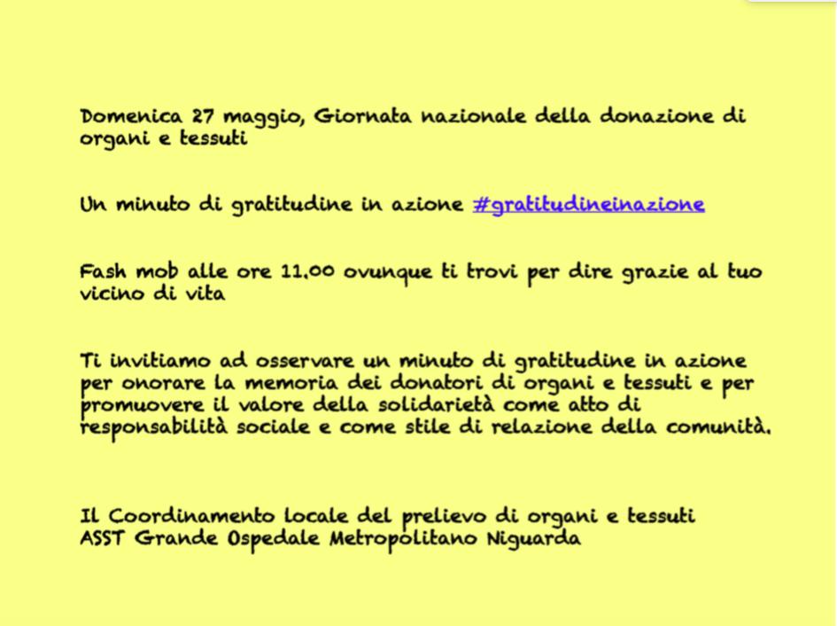 Un post-it per passare il virus della gratitudine – AIDO Milano